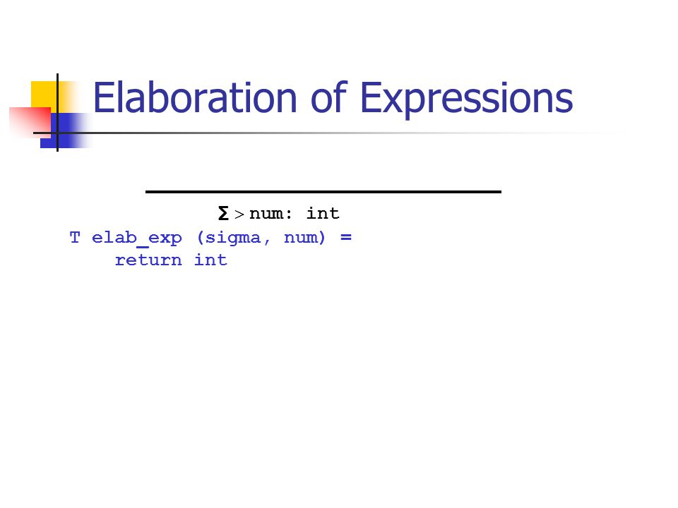 Elaboration of Expressions T elab_exp (sigma, num) = return int ∑  num: int