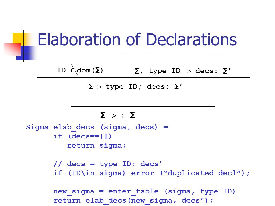 "Elaboration of Declarations Sigma elab_decs (sigma, decs) = if (decs==[]) return sigma; // decs = type ID; decs' if (ID\in sigma) error (""duplicated d"