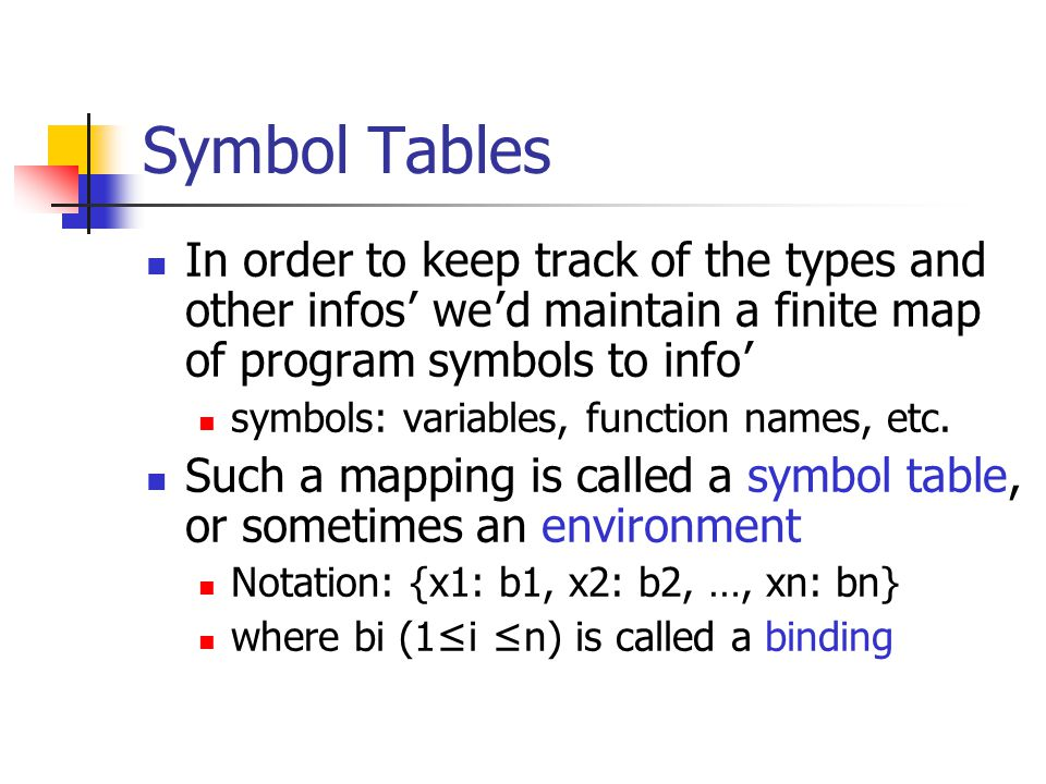 Symbol Tables In order to keep track of the types and other infos ' we ' d maintain a finite map of program symbols to info ' symbols: variables, func