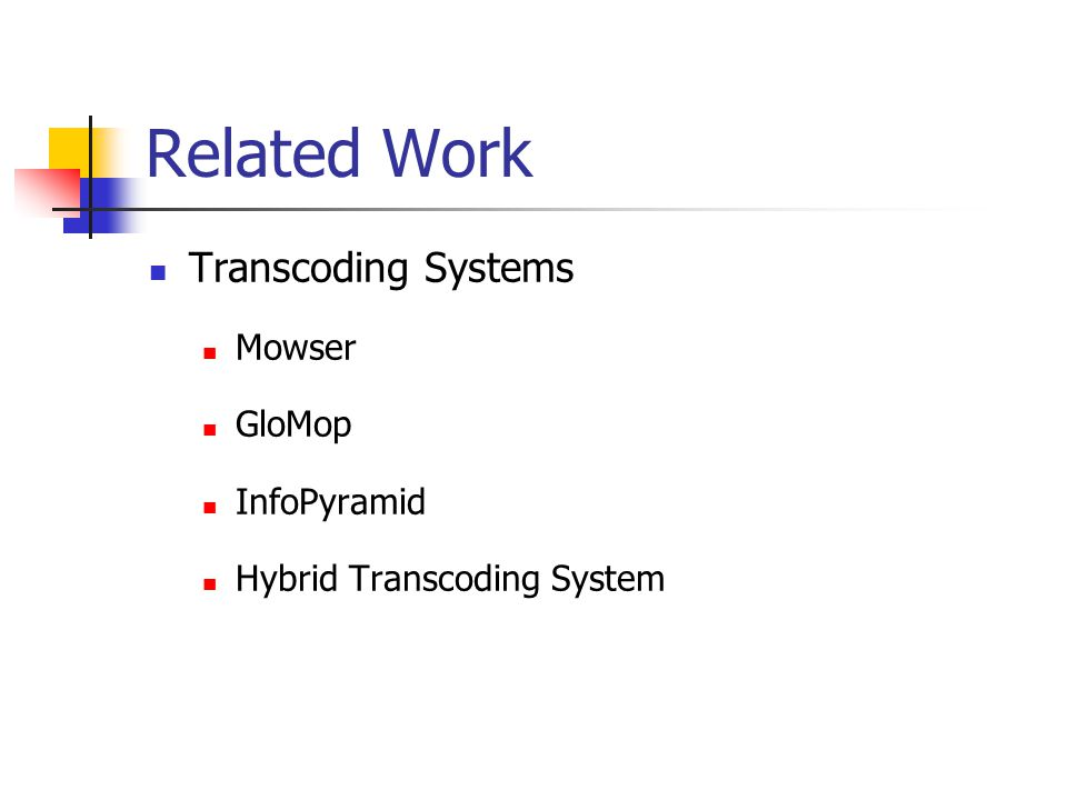 Related Work Transcoding Systems Mowser GloMop InfoPyramid Hybrid Transcoding System