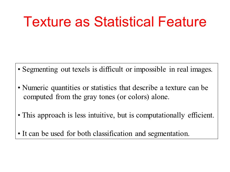 Simple Statistical Texture Measures 1.