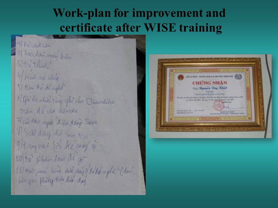 Work-plan for improvement and certificate after WISE training