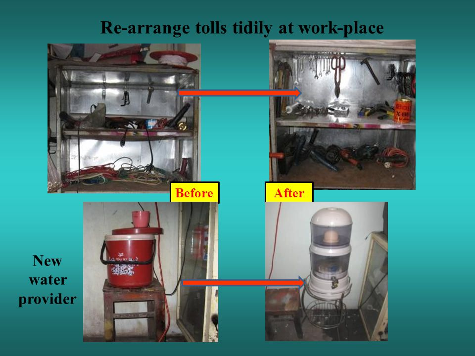 Re-arrange tolls tidily at work-place BeforeAfter New water provider