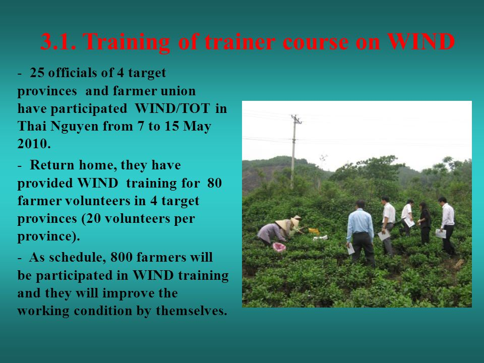 3.1. Training of trainer course on WIND - 25 officials of 4 target provinces and farmer union have participated WIND/TOT in Thai Nguyen from 7 to 15 M