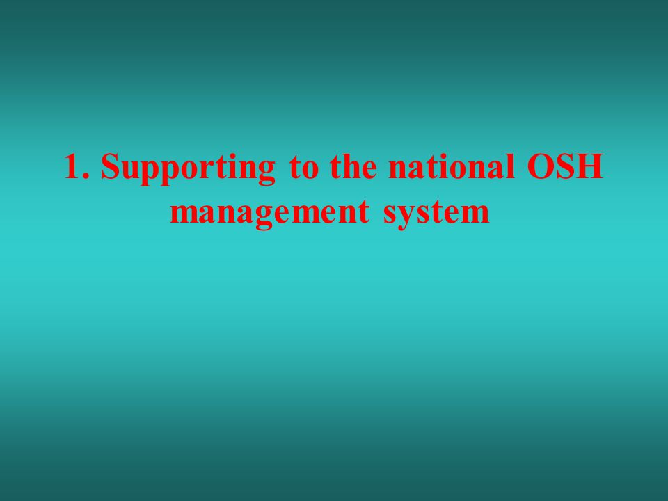 1. Supporting to the national OSH management system