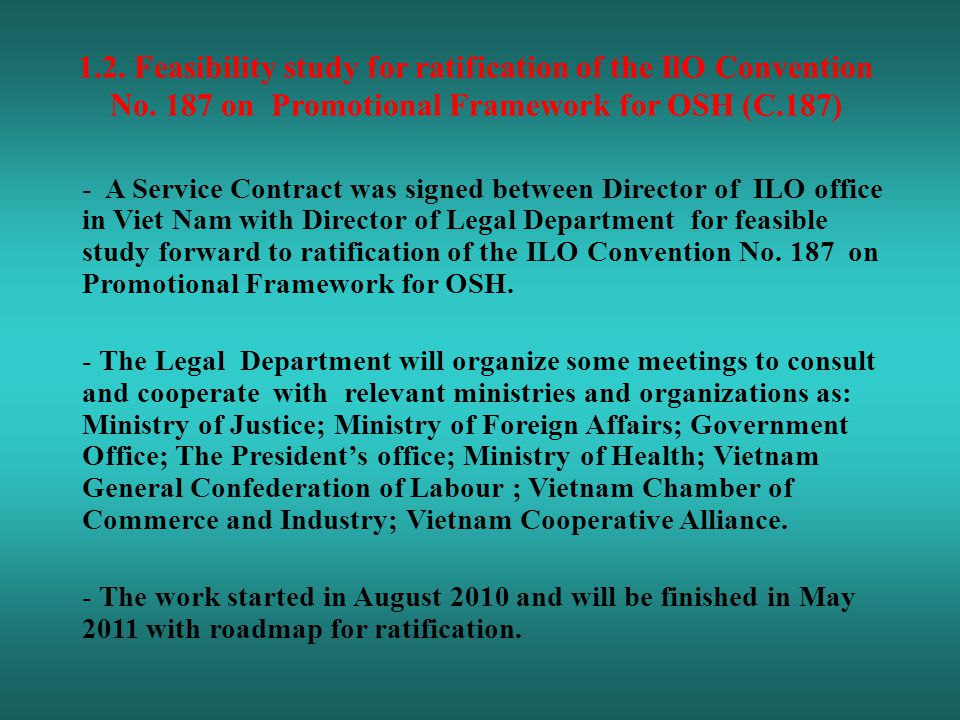1.2. Feasibility study for ratification of the IlO Convention No.