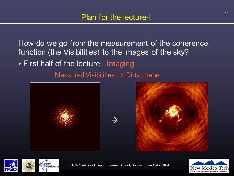 Ninth Synthesis Imaging Summer School, Socorro, June 15-22, 2004 23 Prior knowledge about the sky What can we assume about the sky emission: 1.