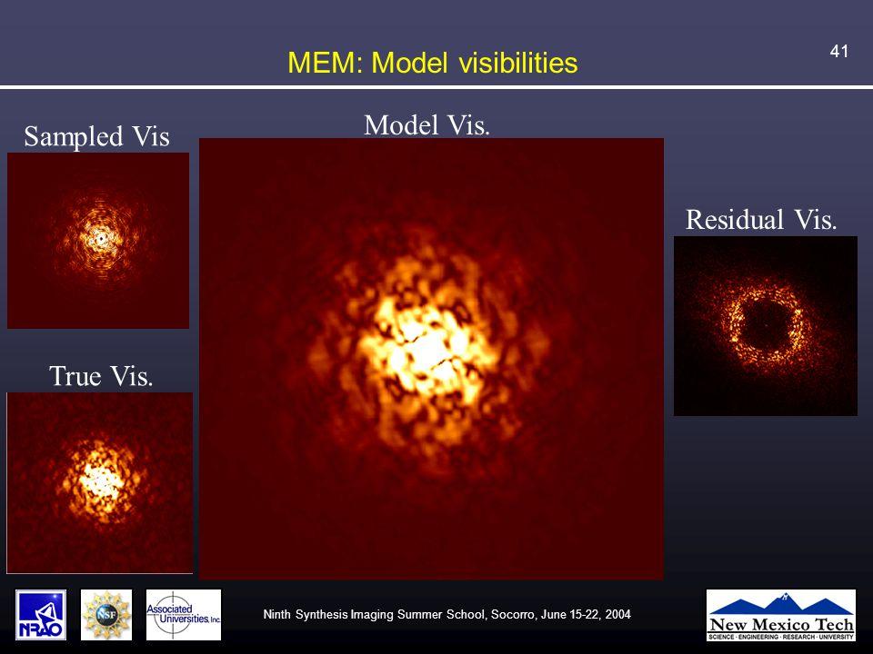 Ninth Synthesis Imaging Summer School, Socorro, June 15-22, 2004 41 MEM: Model visibilities Sampled Vis True Vis.