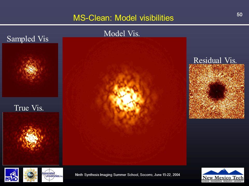 Ninth Synthesis Imaging Summer School, Socorro, June 15-22, 2004 50 MS-Clean: Model visibilities Sampled Vis True Vis.