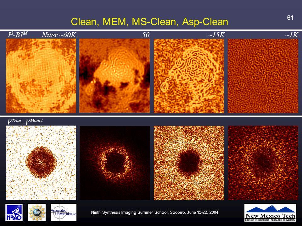 Ninth Synthesis Imaging Summer School, Socorro, June 15-22, 2004 61 Clean, MEM, MS-Clean, Asp-Clean V True - V Model I d -BI M Niter ~60K 50 ~15K ~1K