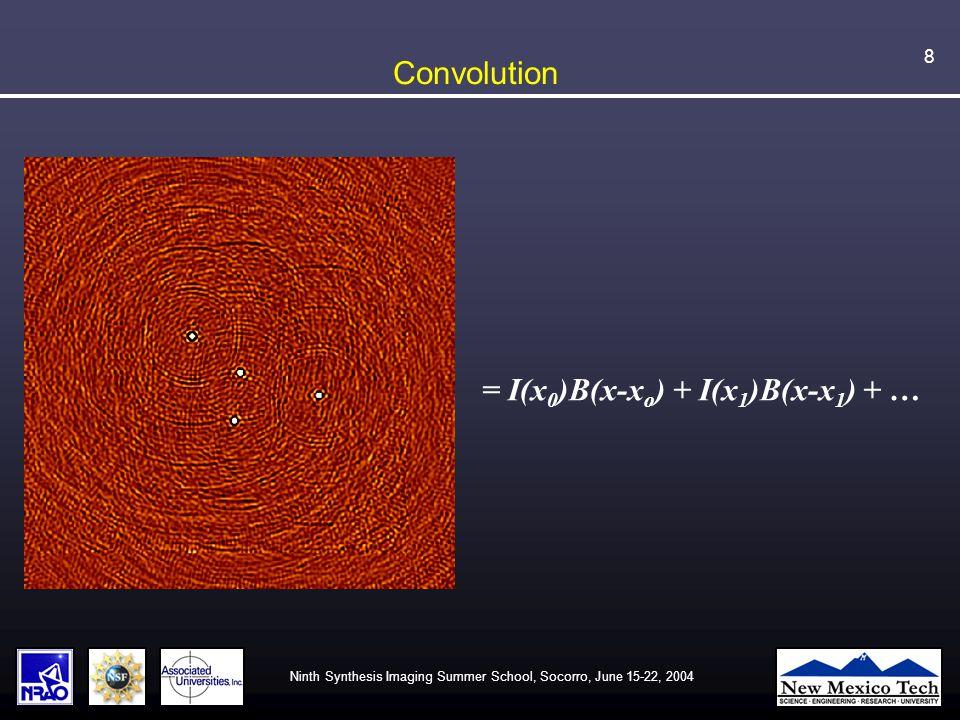 Ninth Synthesis Imaging Summer School, Socorro, June 15-22, 2004 8 Convolution = I(x 0 )B(x-x o ) + I(x 1 )B(x-x 1 ) + …