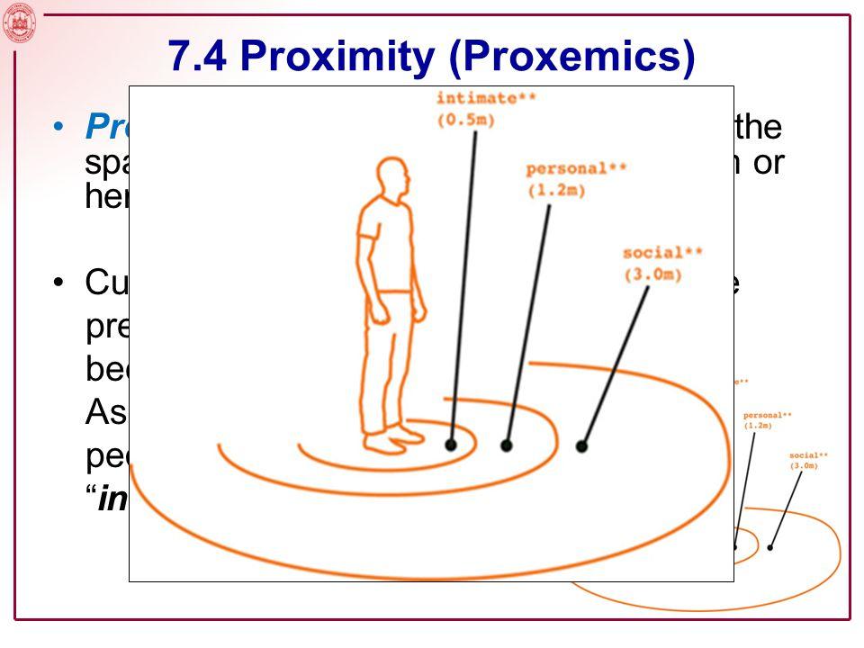 Slide No. 7 7.4 Proximity (Proxemics) MY PERSONAL SPACE MY COMFORT ZONE