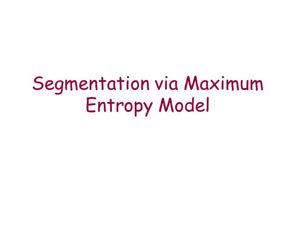 Segmentation via Maximum Entropy Model