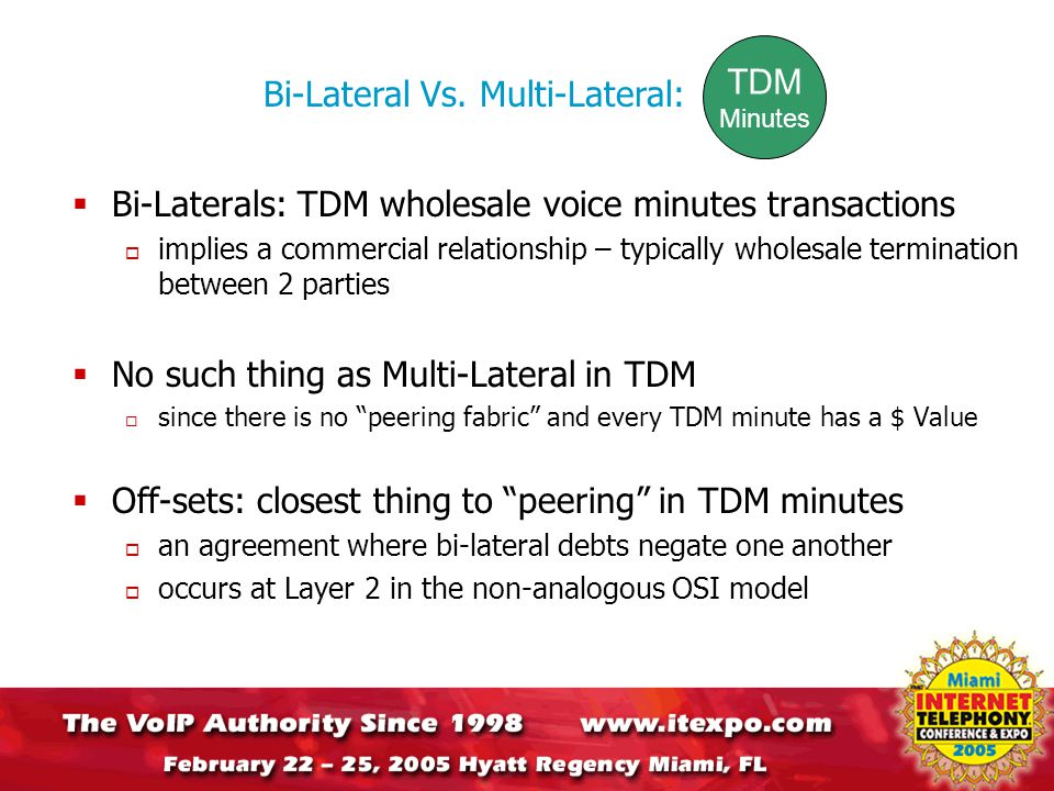  Bi-Laterals: TDM wholesale voice minutes transactions  implies a commercial relationship – typically wholesale termination between 2 parties  No such thing as Multi-Lateral in TDM  since there is no peering fabric and every TDM minute has a $ Value  Off-sets: closest thing to peering in TDM minutes  an agreement where bi-lateral debts negate one another  occurs at Layer 2 in the non-analogous OSI model Bi-Lateral Vs.