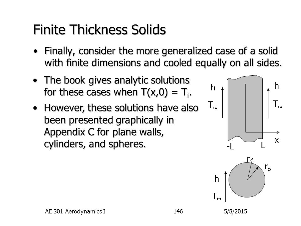5/8/2015AE 301 Aerodynamics I146 Finite Thickness Solids Finally, consider the more generalized case of a solid with finite dimensions and cooled equa