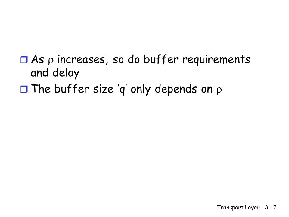 Transport Layer 3-17 r As  increases, so do buffer requirements and delay r The buffer size 'q' only depends on 