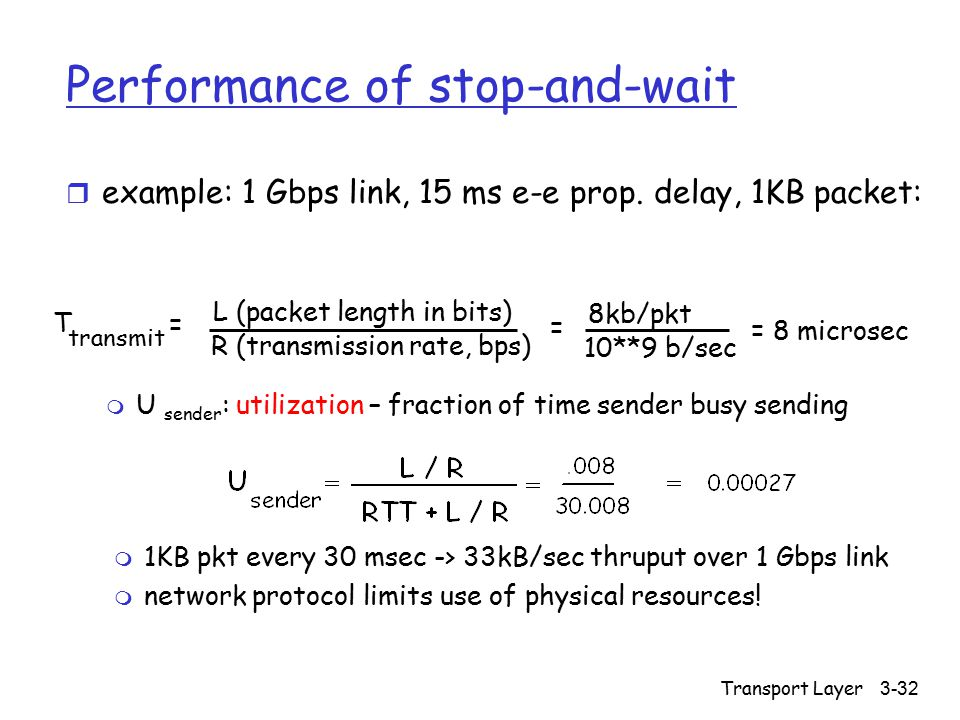 Transport Layer 3-32 Performance of stop-and-wait r example: 1 Gbps link, 15 ms e-e prop. delay, 1KB packet: T transmit = 8kb/pkt 10**9 b/sec = 8 micr