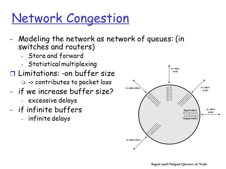Transport Layer 3-66 Network Congestion - Modeling the network as network of queues: (in switches and routers) - Store and forward - Statistical multi