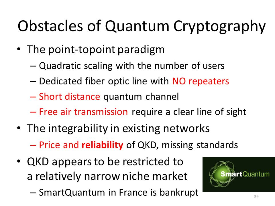 Obstacles of Quantum Cryptography The point-topoint paradigm – Quadratic scaling with the number of users – Dedicated fiber optic line with NO repeaters – Short distance quantum channel – Free air transmission require a clear line of sight The integrability in existing networks – Price and reliability of QKD, missing standards QKD appears to be restricted to a relatively narrow niche market – SmartQuantum in France is bankrupt 39