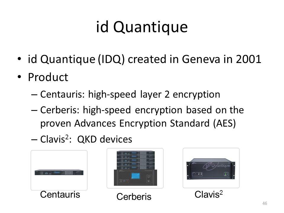 id Quantique id Quantique (IDQ) created in Geneva in 2001 Product – Centauris: high-speed layer 2 encryption – Cerberis: high-speed encryption based o