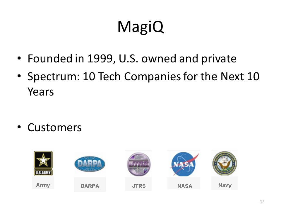 MagiQ Founded in 1999, U.S.