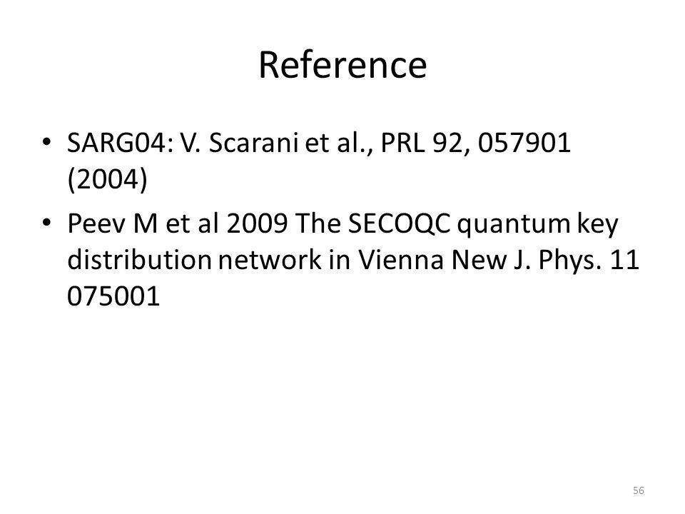 Reference SARG04: V. Scarani et al., PRL 92, 057901 (2004) Peev M et al 2009 The SECOQC quantum key distribution network in Vienna New J. Phys. 11 075