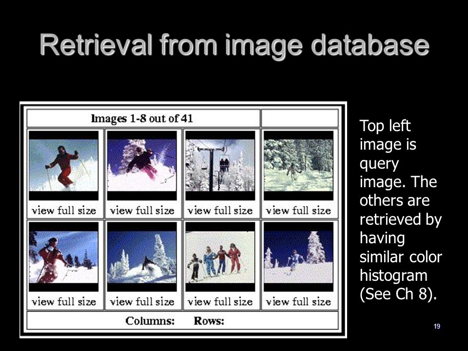 19 Retrieval from image database Top left image is query image.