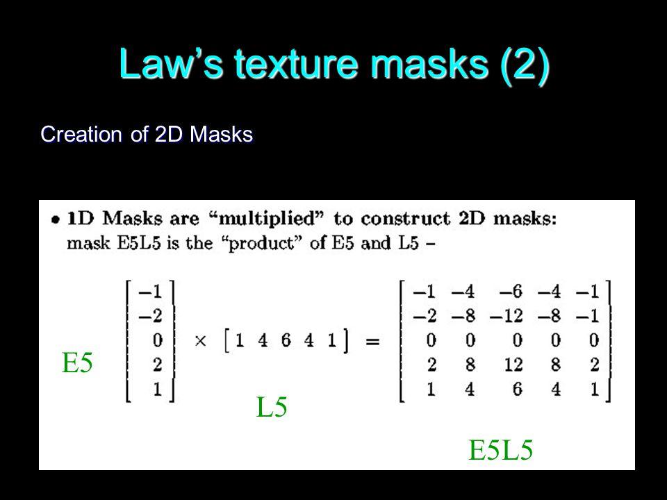 60 Law's texture masks (2) Creation of 2D Masks E5 L5 E5L5