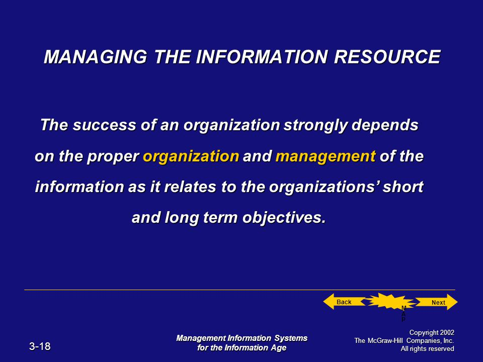 Next Back MAP MAP 3-18 Management Information Systems for the Information Age Copyright 2002 The McGraw-Hill Companies, Inc.