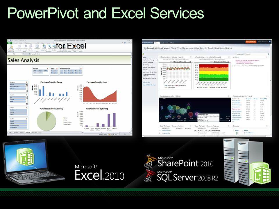 PowerPivot and Excel Services PowerPivot add-in for Excel PowerPivot add-in for SharePoint