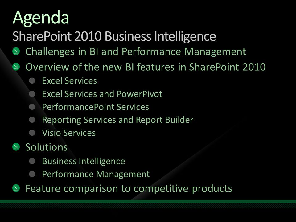 Agenda SharePoint 2010 Business Intelligence Challenges in BI and Performance Management Overview of the new BI features in SharePoint 2010 Excel Serv