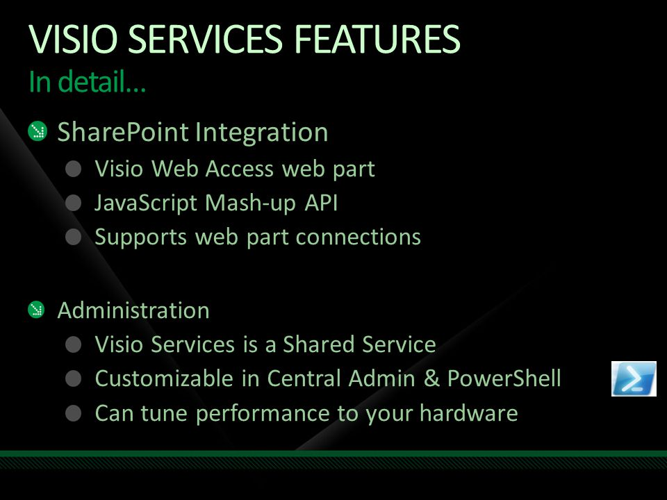 SharePoint Integration Visio Web Access web part JavaScript Mash-up API Supports web part connections Administration Visio Services is a Shared Servic