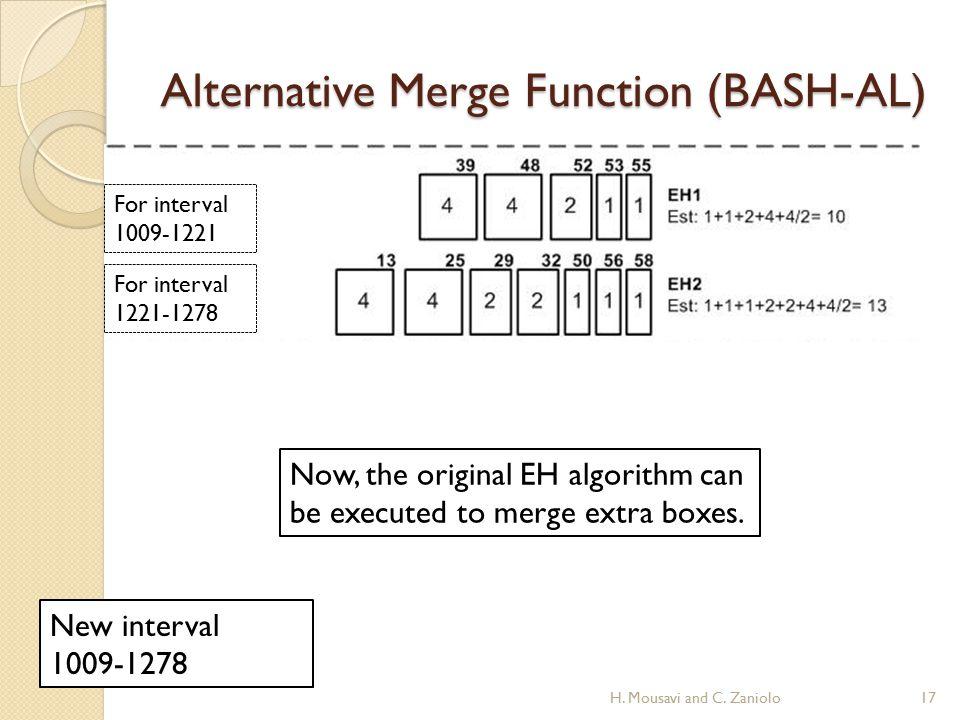 Alternative Merge Function (BASH-AL) For interval 1009-1221 For interval 1221-1278 New interval 1009-1278 17H. Mousavi and C. Zaniolo Now, the origina