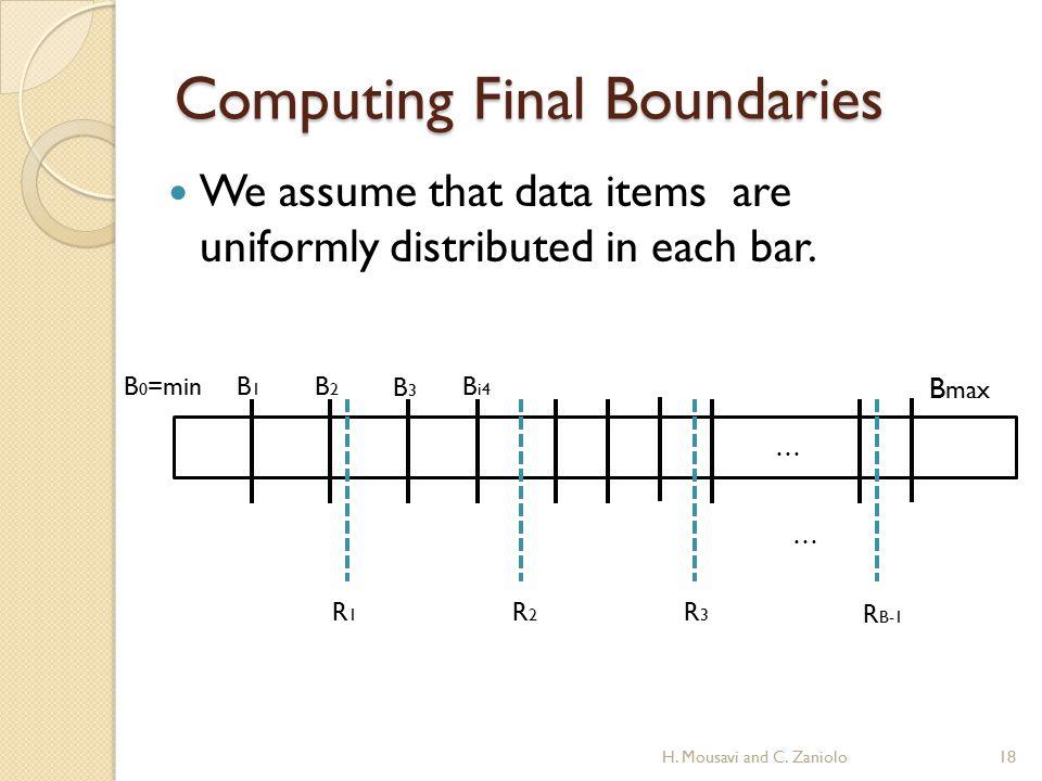 Computing Final Boundaries … B 0 =minB1B1 B2B2 B3B3 B i4 B max … R1R1 R2R2 R3R3 R B-1 We assume that data items are uniformly distributed in each bar.
