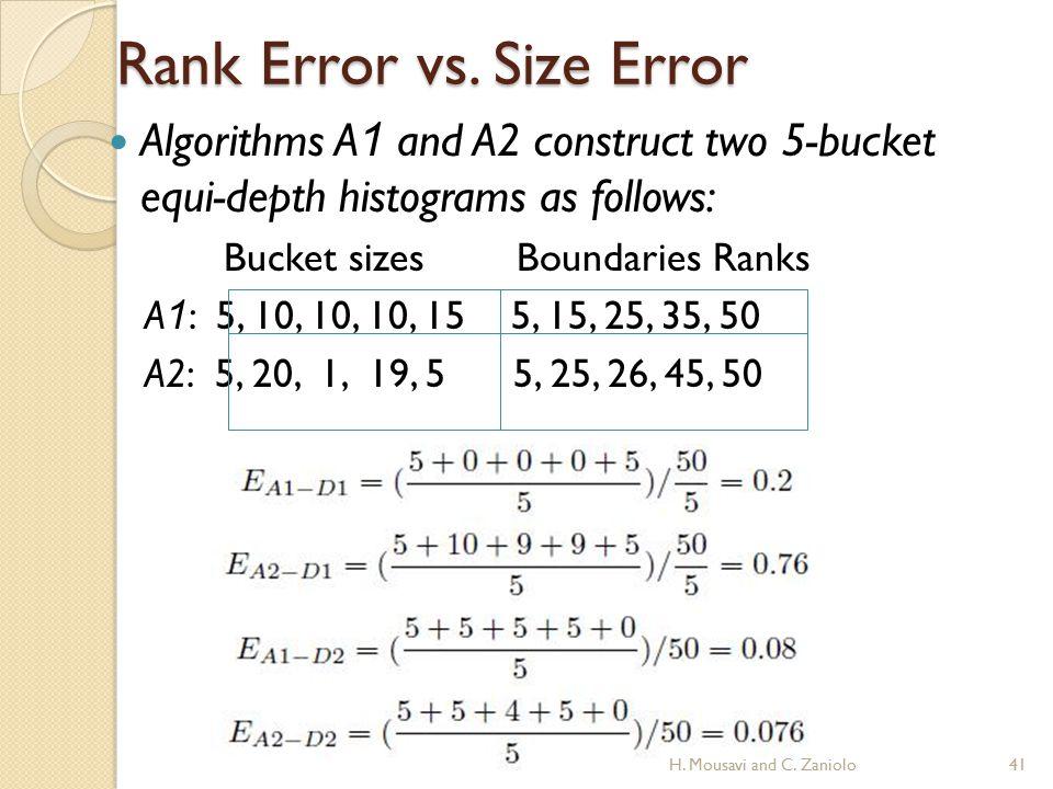 Rank Error vs. Size Error Algorithms A 1 and A2 construct two 5-bucket equi-depth histograms as follows: Bucket sizes Boundaries Ranks A 1 : 5, 10, 10