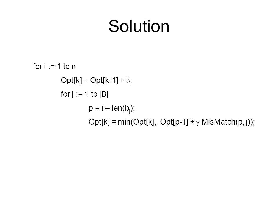 Solution for i := 1 to n Opt[k] = Opt[k-1] +  ; for j := 1 to |B| p = i – len(b j ); Opt[k] = min(Opt[k], Opt[p-1] +  MisMatch(p, j));
