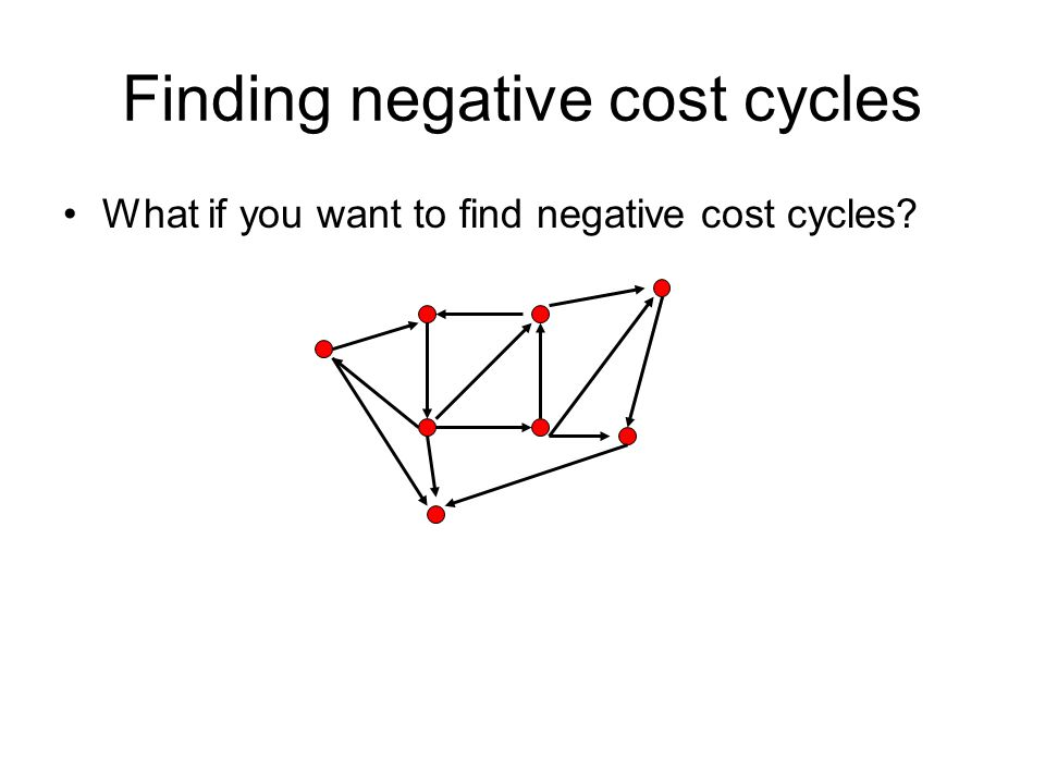 Finding negative cost cycles What if you want to find negative cost cycles