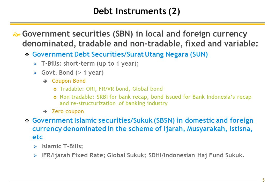  Government securities (SBN) in local and foreign currency denominated, tradable and non-tradable, fixed and variable:  Government Debt Securities/Surat Utang Negara (SUN)  T-Bills: short-term (up to 1 year);  Govt.