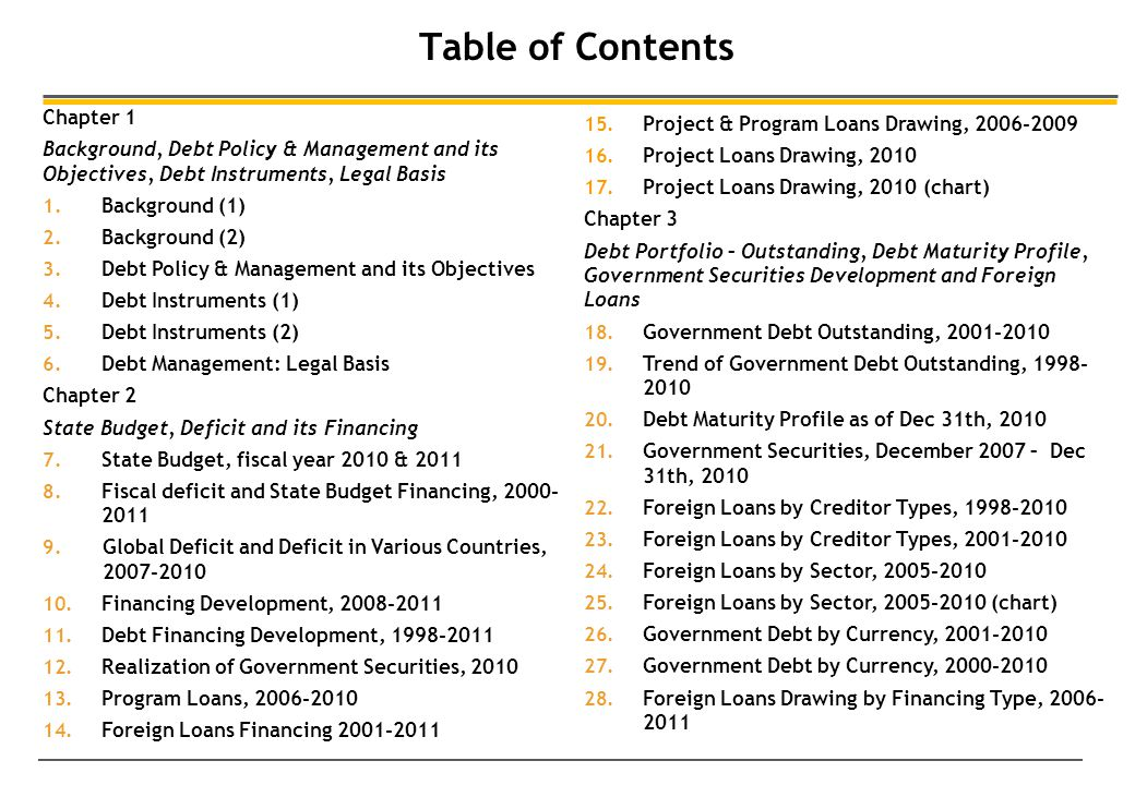 Table of Contents Chapter 1 Background, Debt Policy & Management and its Objectives, Debt Instruments, Legal Basis 1.