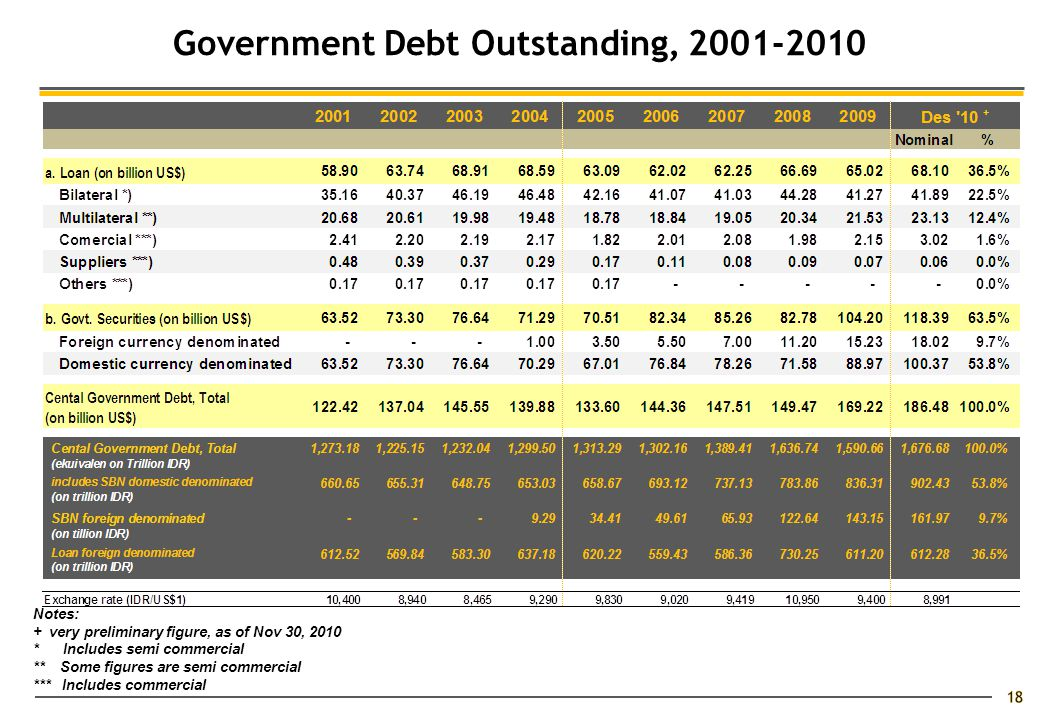 Notes: + very preliminary figure, as of Nov 30, 2010 * Includes semi commercial ** Some figures are semi commercial *** Includes commercial Government Debt Outstanding, 2001-2010 18