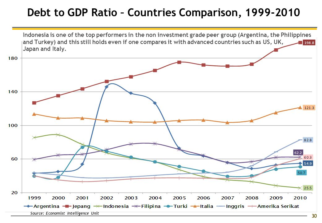 30 Debt to GDP Ratio – Countries Comparison, 1999-2010 Indonesia is one of the top performers in the non investment grade peer group (Argentina, the Philippines and Turkey) and this still holds even if one compares it with advanced countries such as US, UK, Japan and Italy.
