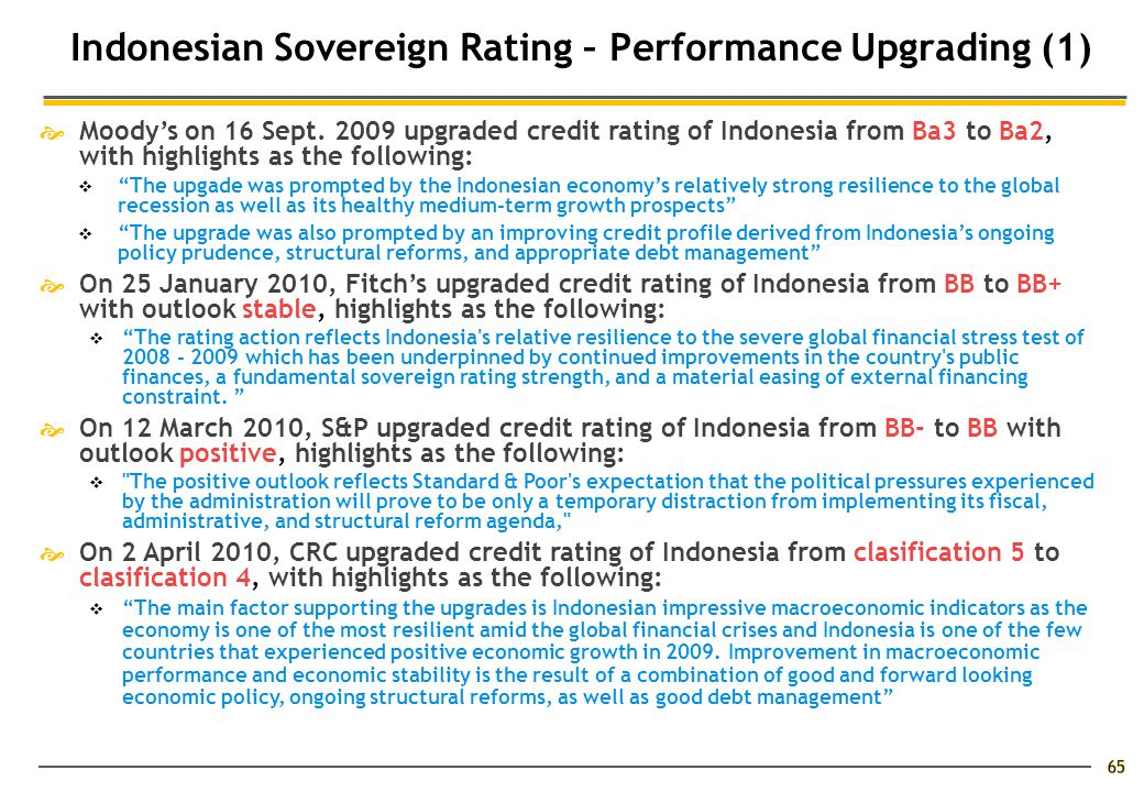 Indonesian Sovereign Rating – Performance Upgrading (1)  Moody's on 16 Sept.