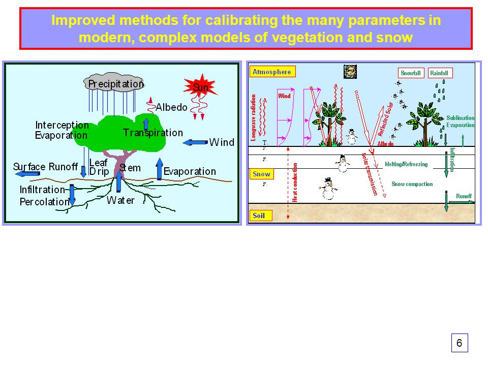 Improved methods for calibrating the many parameters in modern, complex models of vegetation and snow 6