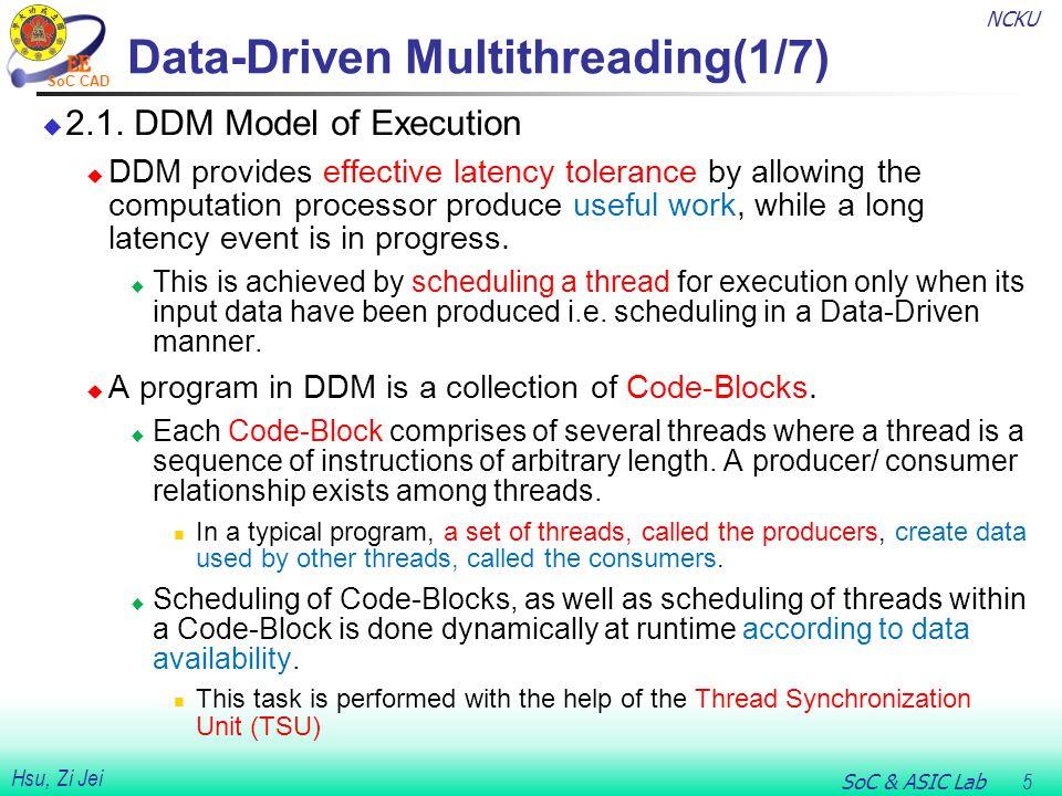 NCKU SoC & ASIC Lab 6 Hsu, Zi Jei SoC CAD Data-Driven Multithreading(2/7)  2.2.