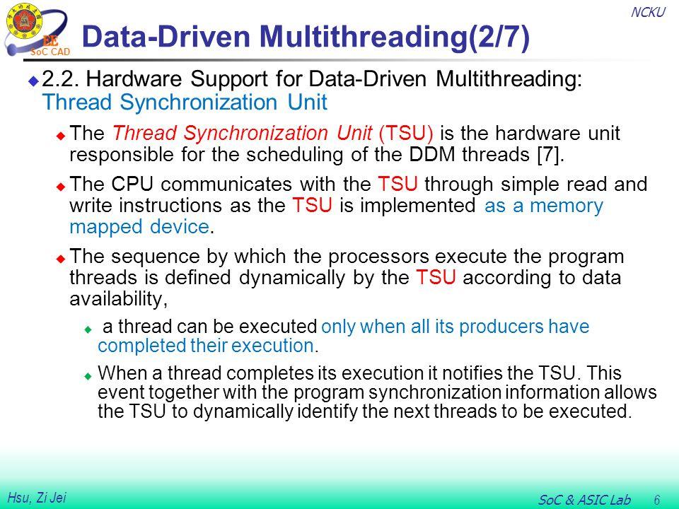 NCKU SoC & ASIC Lab 7 Hsu, Zi Jei SoC CAD Data-Driven Multithreading(3/7)  2.3.