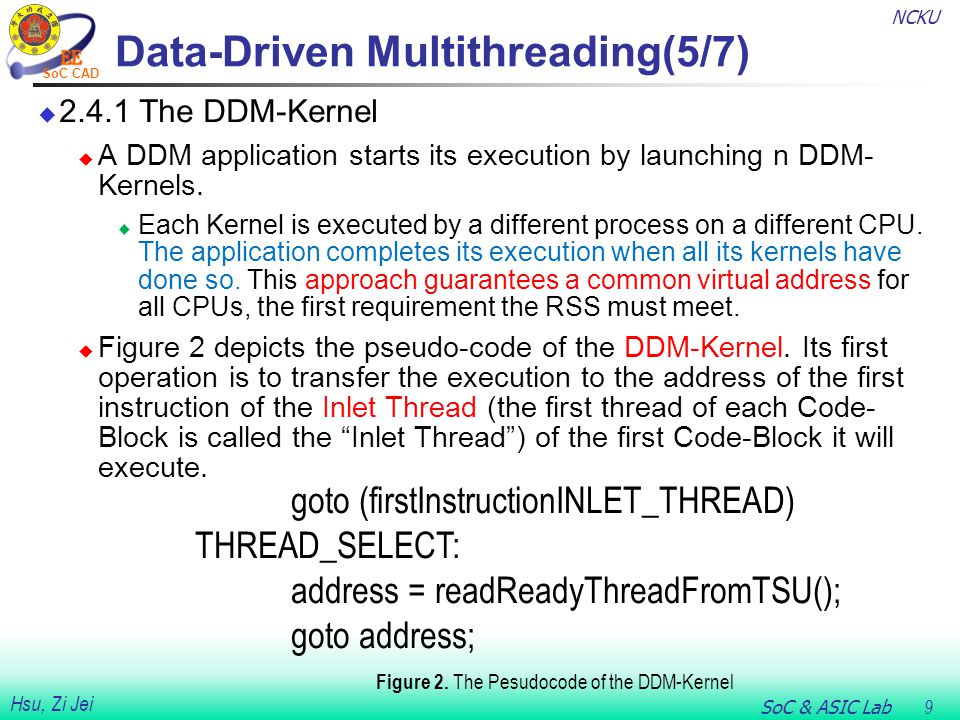 NCKU SoC & ASIC Lab 9 Hsu, Zi Jei SoC CAD Data-Driven Multithreading(5/7)  2.4.1 The DDM-Kernel  A DDM application starts its execution by launching n DDM- Kernels.