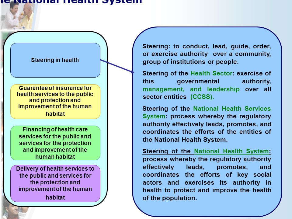 Steering in health Delivery of health services to the public and services for the protection and improvement of the human habitat Guarantee of insurance for health services to the public and protection and improvement of the human habitat Financing of health care services for the public and services for the protection and improvement of the human habitat Functions of the National Health System Steering: to conduct, lead, guide, order, or exercise authority over a community, group of institutions or people.