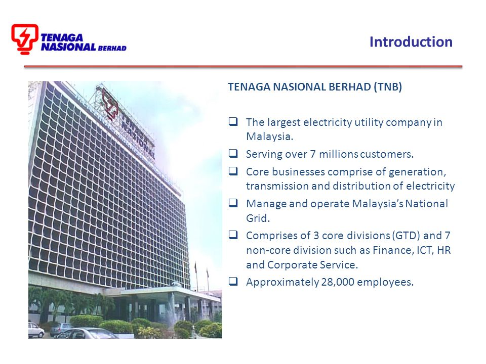 Introduction TENAGA NASIONAL BERHAD (TNB)  The largest electricity utility company in Malaysia.