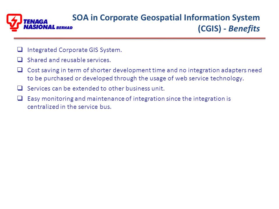  Integrated Corporate GIS System. Shared and reusable services.