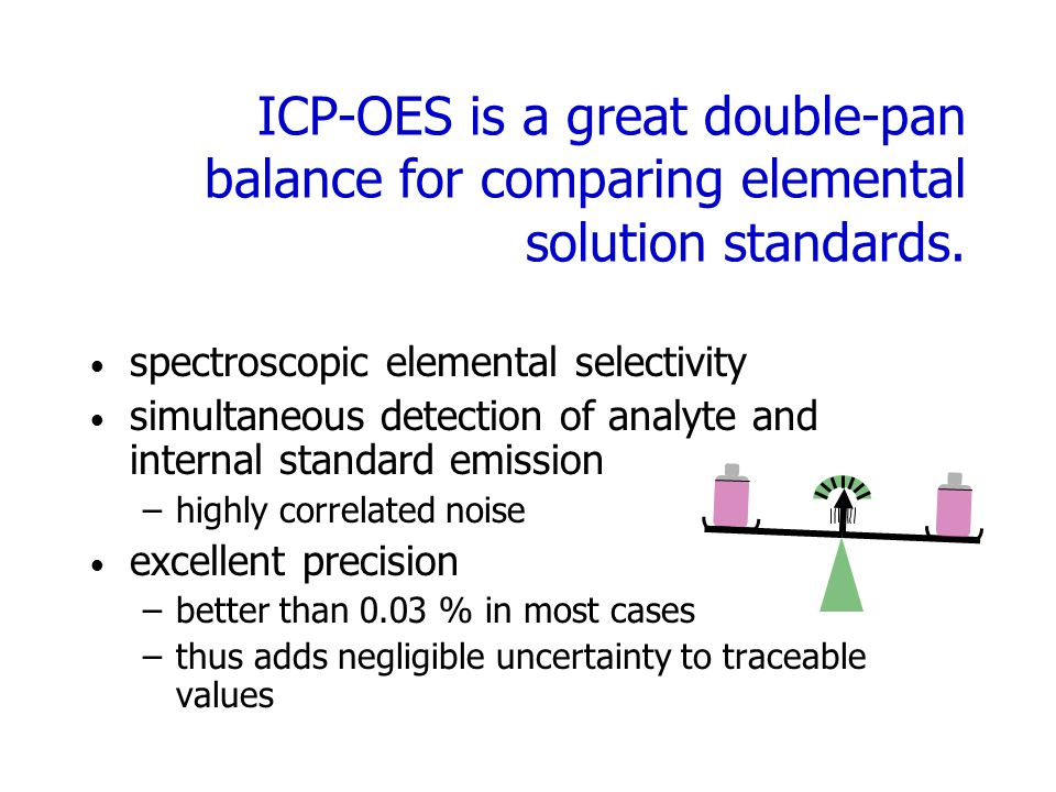 ICP-OES is a great double-pan balance for comparing elemental solution standards.